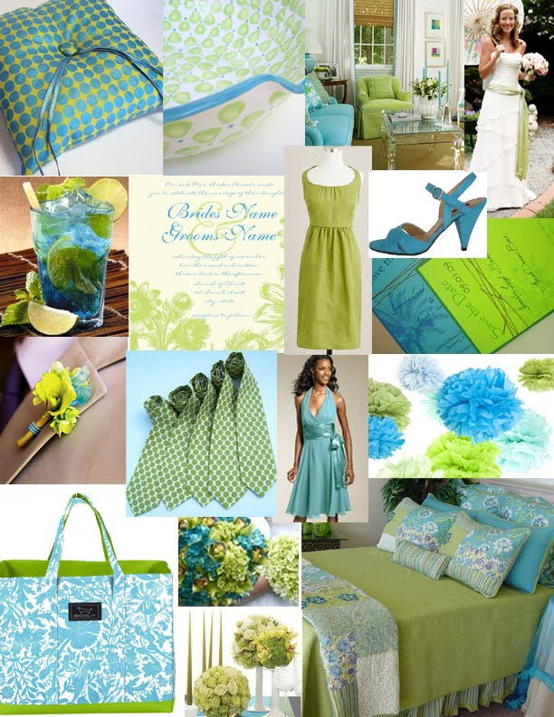 Wedding ideas here comes the future wedding planner - Turquoise and lime green decor ...